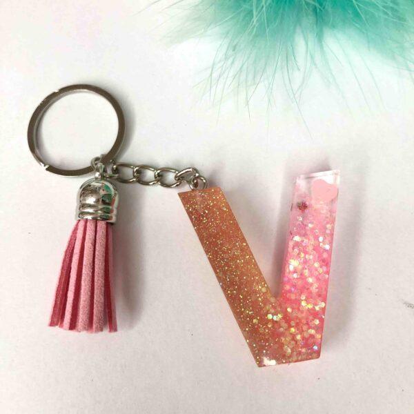 Llavero resina modelo Glitter personalizable